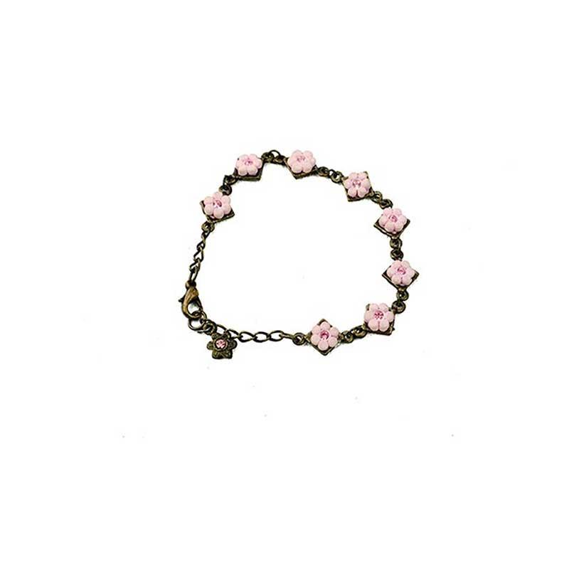 pink flower bracelet with strass kids2 Bloemetjes Armband Strass