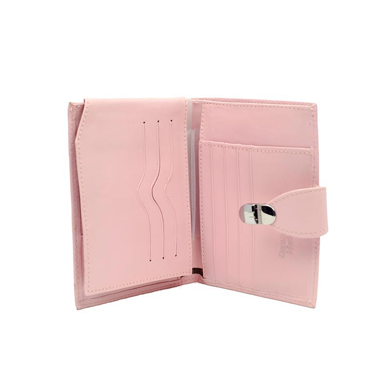 Pink leather wallet inside