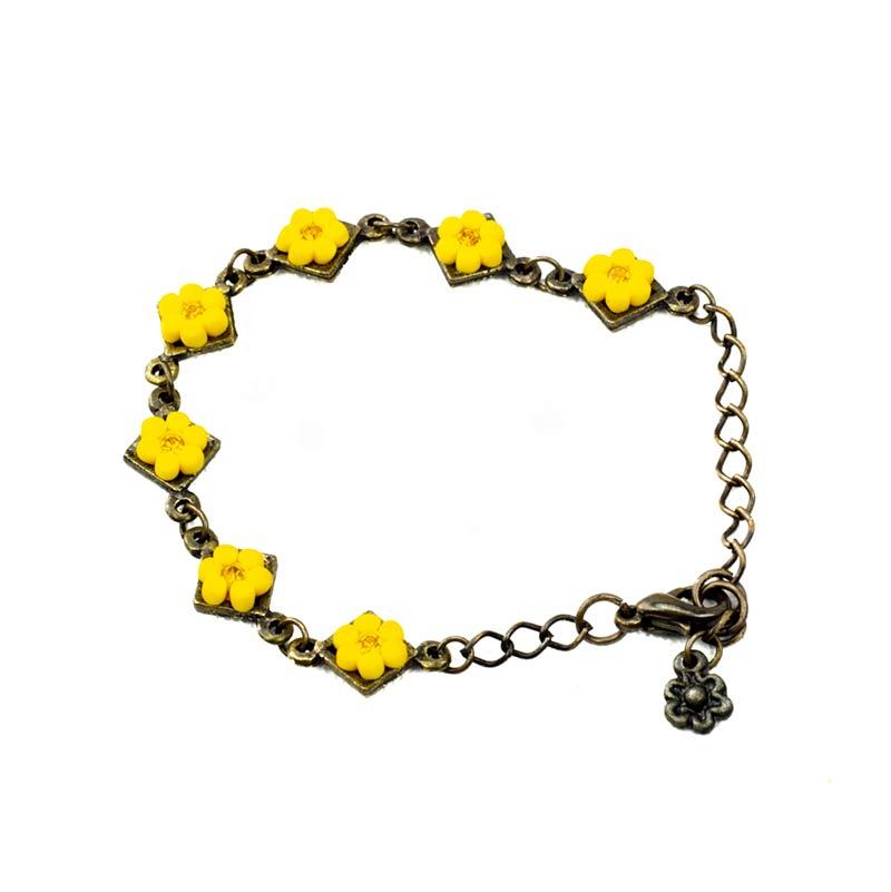 armband met gele bloemen en strass