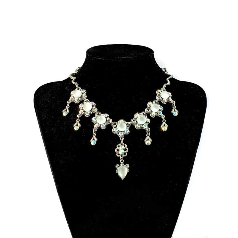 Swarovski white with resin speres Necklace Set with Spheres