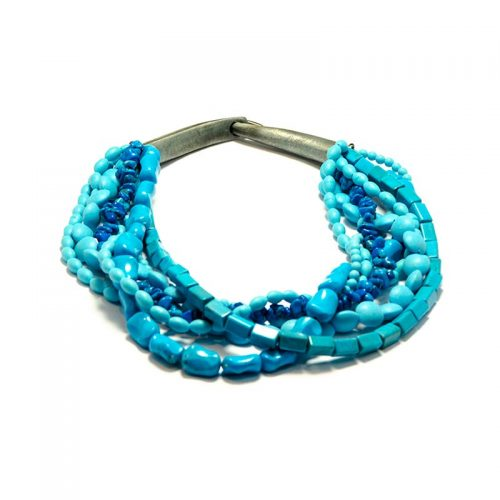 blue turquoise round necklace