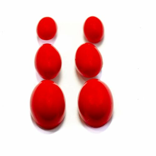 Red Oval Studs Earrings