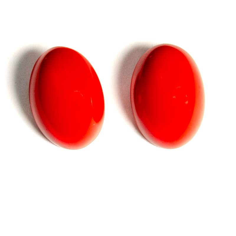 Red Oval Studs Earrings Large Pair
