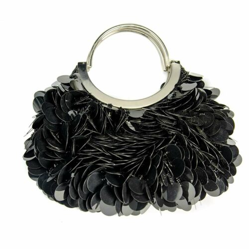 black evening handbag with sequins