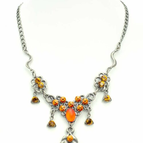 medaillion swarovski necklace set orange