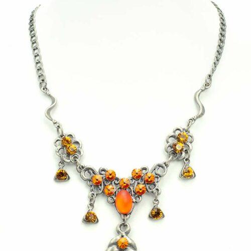 medaillion swarovski necklace set orange