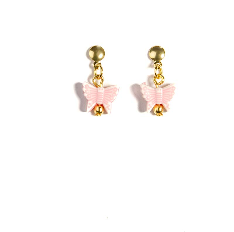 pink buttery fly earring gold plated Butterfly Earrings Gold Plated