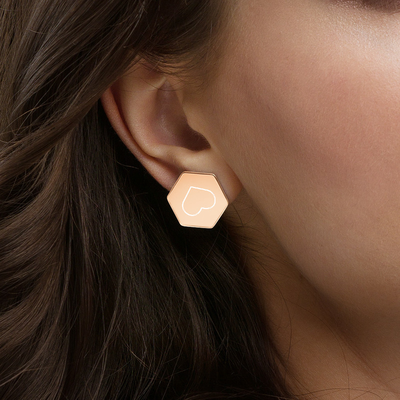 rose gold earring with heart engraved yazzy's
