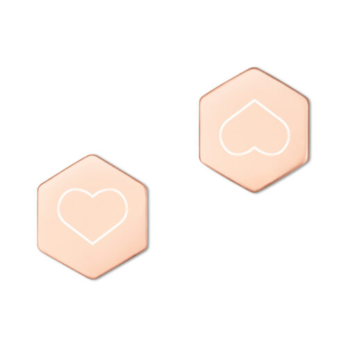 Rose gold earring buds with heart