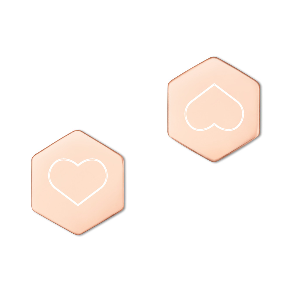 rose gold sterling silver gold plated hexagon earrings Zilveren Hexagon Oorknopjes