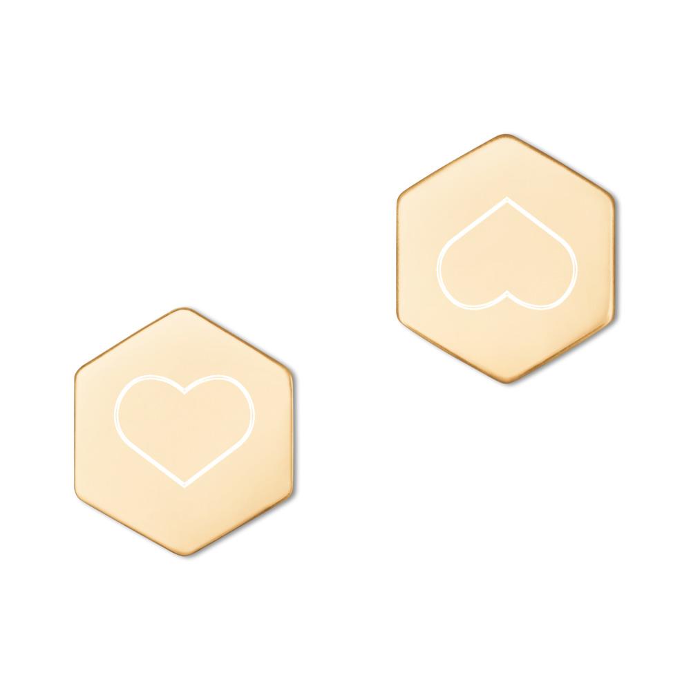 Silver Hexagon Stud Earrings