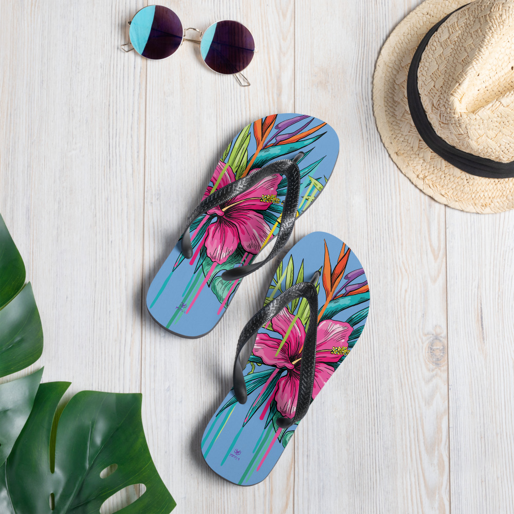 colourful men flip flops with flowers Bloemen Flip Flops