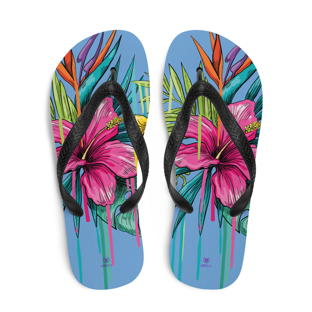 flip flops slippers with flowers colourful summery Floral Flip-Flops