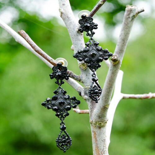 long statement earrings black