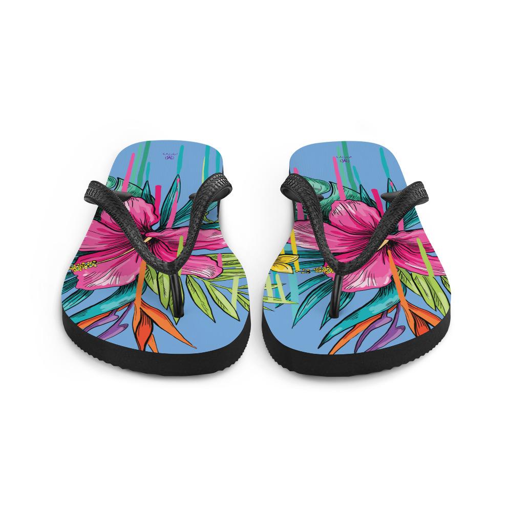 summery flip flops with flowers Floral Flip-Flops
