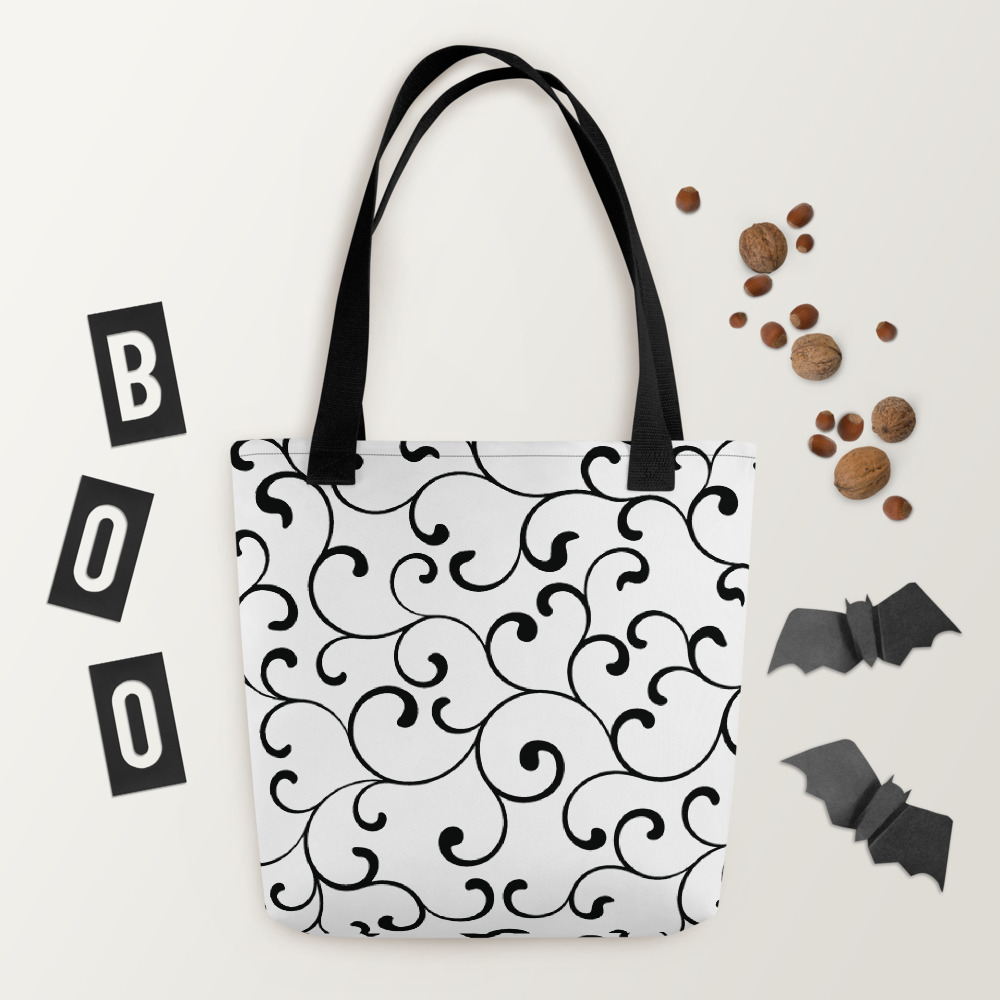 Black Swirl Tote Bag mockup