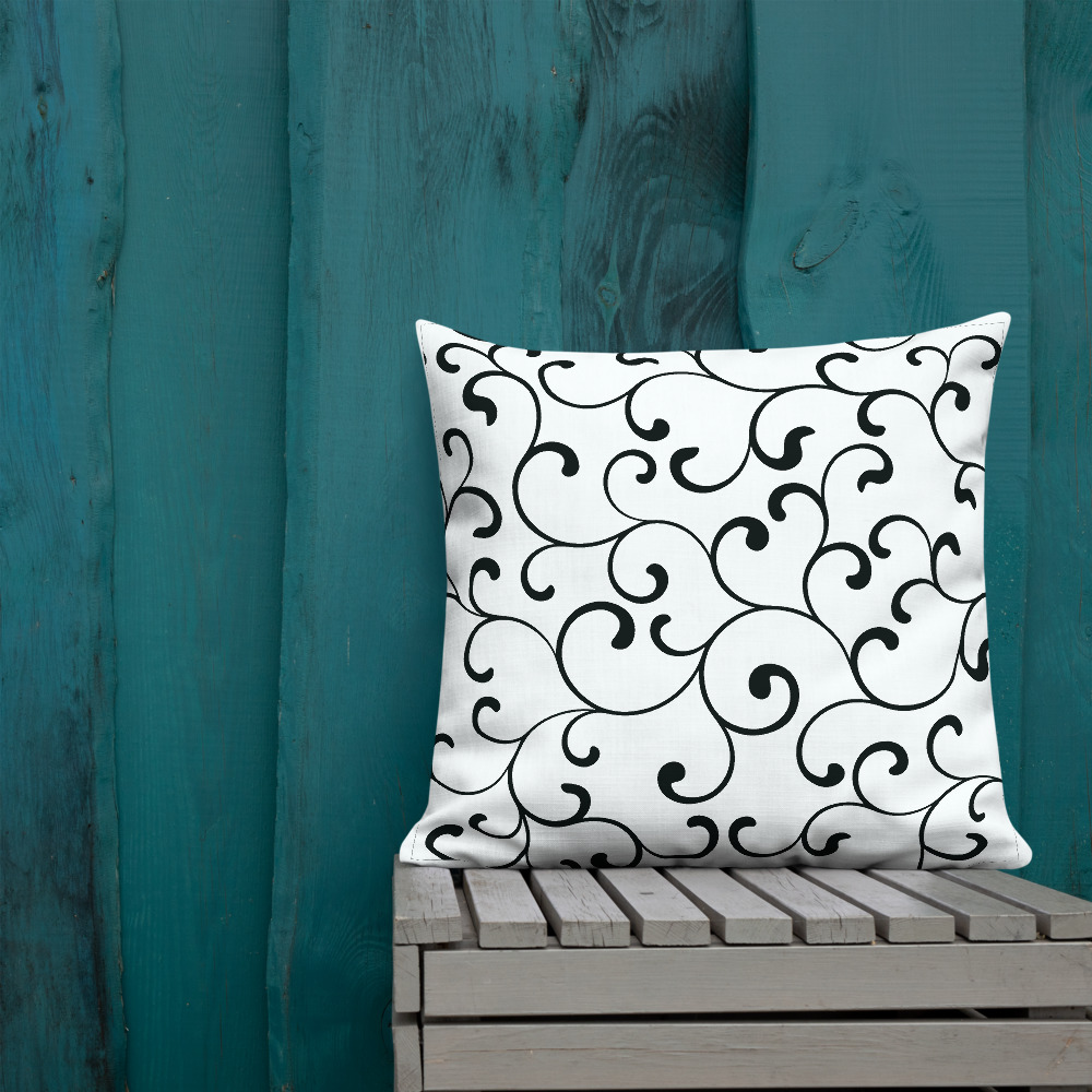Black and white cushions Swirl Premium Cushions