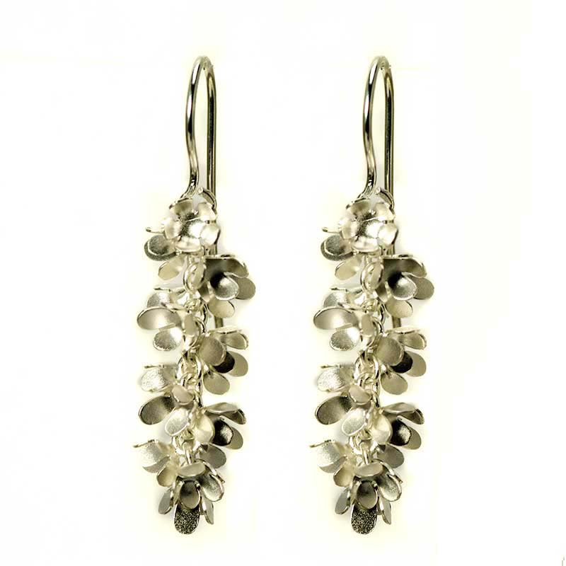 Silver Flower Earrings in a cluster
