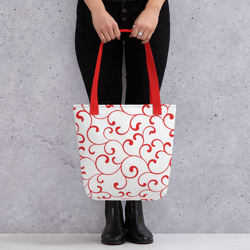 Red Tote Bag with Red Handles Red Swirl Tote Bag