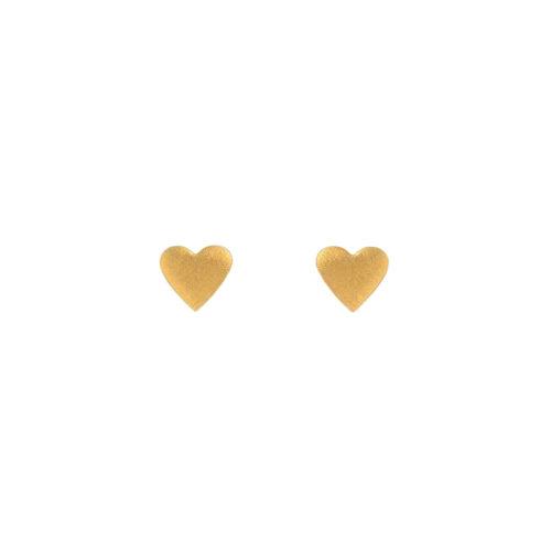 Zilveren hart oorknopjes verguld brushed