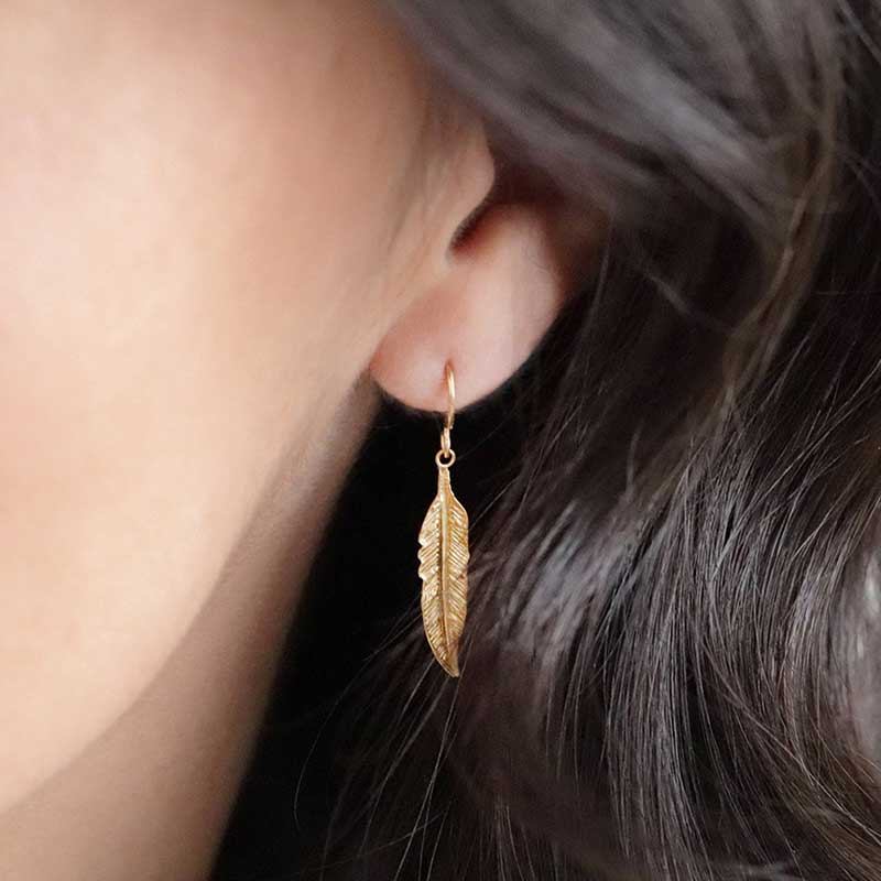 Silver gold plated feathers ls Boho Silver Earrings