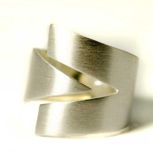 V Silver Ring