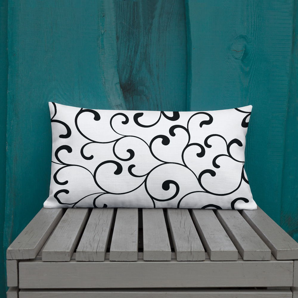 black and white minimalistic cushions Swirl Premium Cushions
