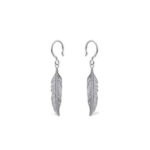 Silver Boho Earrings Feather