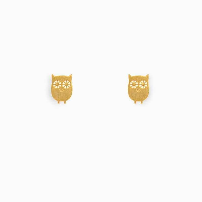 Gold Plated Silver Owl Earring Studs