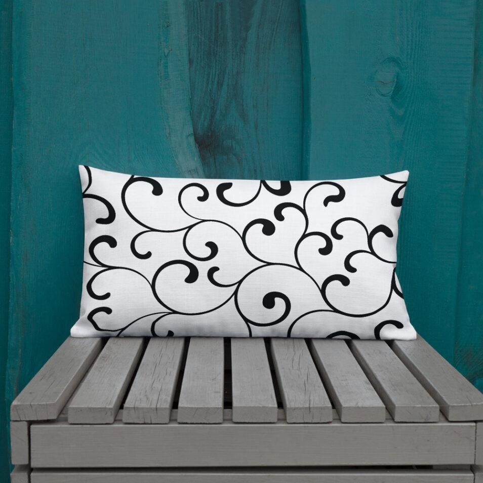 Swirl Premium Cushions Black and White
