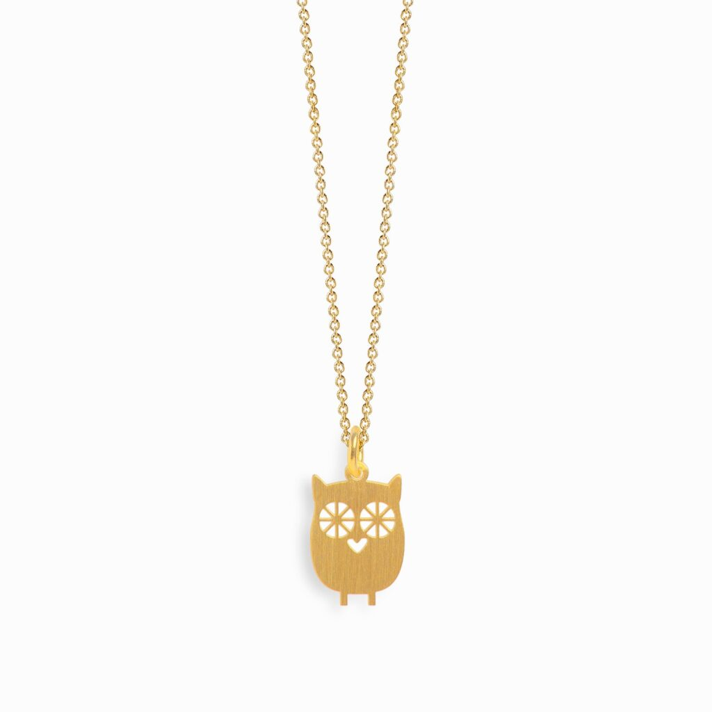 owl necklace silver gold plated