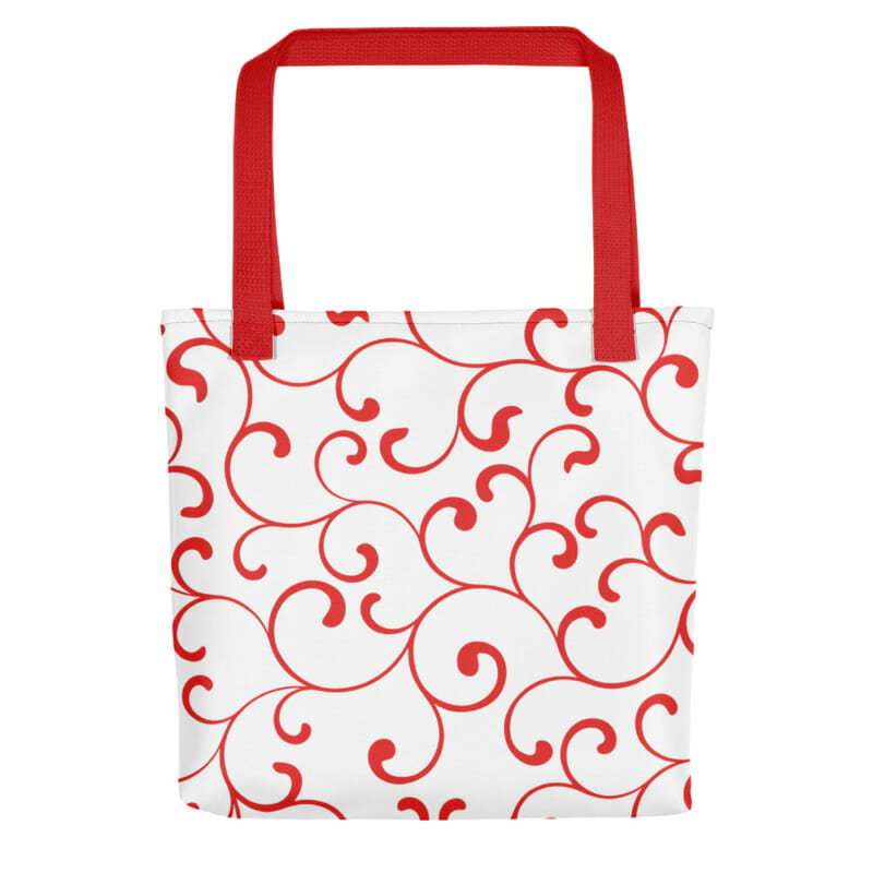 rode tote tas met gave print