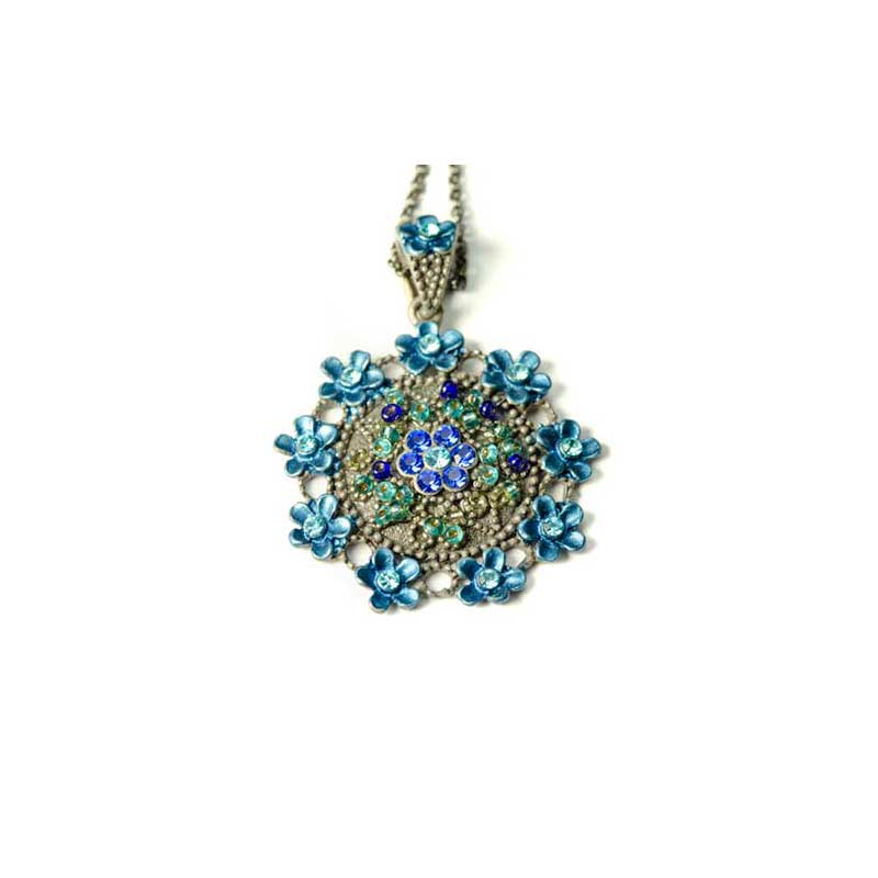 Blauwe medaillon met Bloemen en ketting